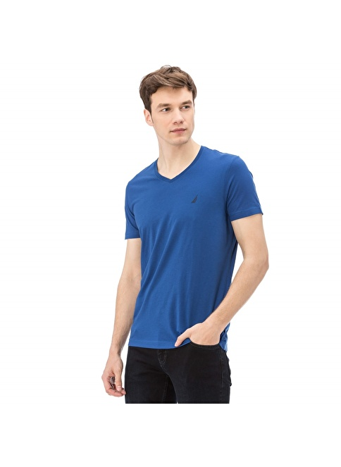 Nautica V Yaka Tişört Mavi